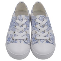 Snowflakes Blue White Cool Kids  Low Top Canvas Sneakers