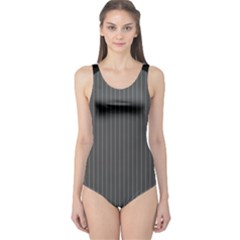 Space Line Grey Black One Piece Swimsuit