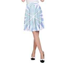 Snowflakes Star Blue Triangle A Line Skirt
