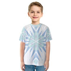 Snowflakes Star Blue Triangle Kids  Sport Mesh Tee
