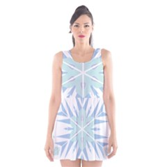 Snowflakes Star Blue Triangle Scoop Neck Skater Dress