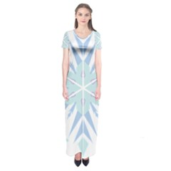 Snowflakes Star Blue Triangle Short Sleeve Maxi Dress