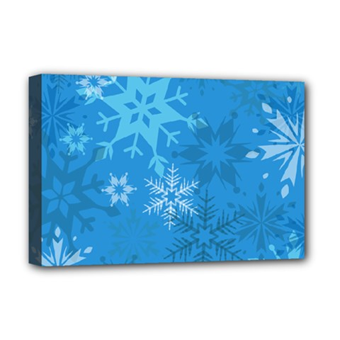 Snowflakes Cool Blue Star Deluxe Canvas 18  X 12