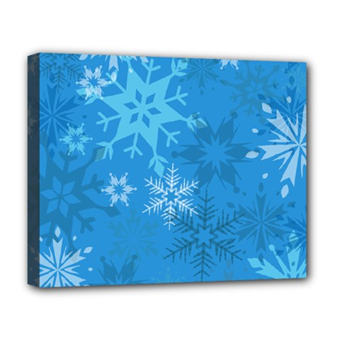 Snowflakes Cool Blue Star Deluxe Canvas 20  X 16