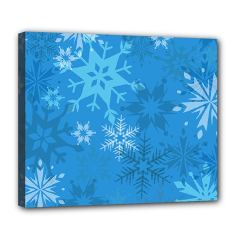 Snowflakes Cool Blue Star Deluxe Canvas 24  X 20