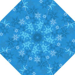 Snowflakes Cool Blue Star Hook Handle Umbrellas (medium)