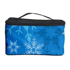 Snowflakes Cool Blue Star Cosmetic Storage Case