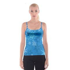 Snowflakes Cool Blue Star Spaghetti Strap Top