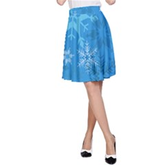 Snowflakes Cool Blue Star A Line Skirt