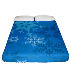 Snowflakes Cool Blue Star Fitted Sheet (king Size)