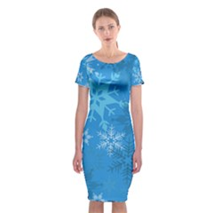 Snowflakes Cool Blue Star Classic Short Sleeve Midi Dress