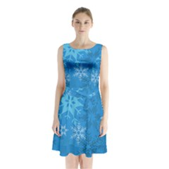 Snowflakes Cool Blue Star Sleeveless Waist Tie Chiffon Dress