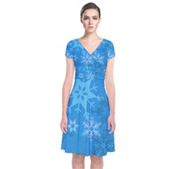Snowflakes Cool Blue Star Short Sleeve Front Wrap Dress