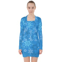 Snowflakes Cool Blue Star V Neck Bodycon Long Sleeve Dress