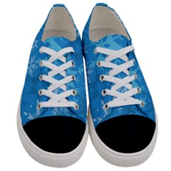 Snowflakes Cool Blue Star Women s Low Top Canvas Sneakers