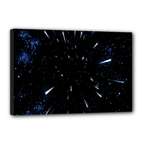 Space Warp Speed Hyperspace Through Starfield Nebula Space Star Line Light Hole Canvas 18  X 12
