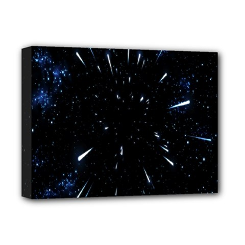 Space Warp Speed Hyperspace Through Starfield Nebula Space Star Line Light Hole Deluxe Canvas 16  X 12