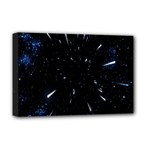 Space Warp Speed Hyperspace Through Starfield Nebula Space Star Line Light Hole Deluxe Canvas 18  X 12