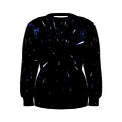 Space Warp Speed Hyperspace Through Starfield Nebula Space Star Line Light Hole Women s Sweatshirt