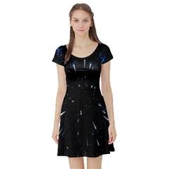Space Warp Speed Hyperspace Through Starfield Nebula Space Star Line Light Hole Short Sleeve Skater Dress