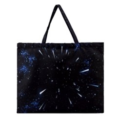Space Warp Speed Hyperspace Through Starfield Nebula Space Star Line Light Hole Zipper Large Tote Bag