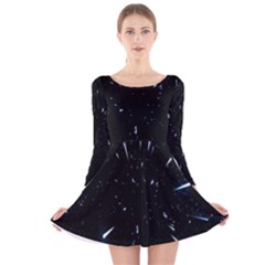 Space Warp Speed Hyperspace Through Starfield Nebula Space Star Line Light Hole Long Sleeve Velvet Skater Dress