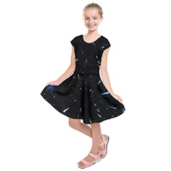 Space Warp Speed Hyperspace Through Starfield Nebula Space Star Line Light Hole Kids  Short Sleeve Dress