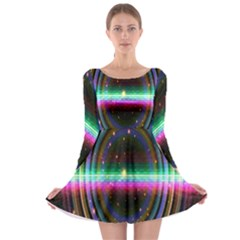 Spectrum Space Line Rainbow Hole Long Sleeve Skater Dress