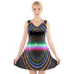 Spectrum Space Line Rainbow Hole V Neck Sleeveless Skater Dress