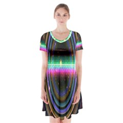 Spectrum Space Line Rainbow Hole Short Sleeve V Neck Flare Dress