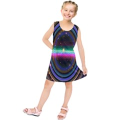 Spectrum Space Line Rainbow Hole Kids  Tunic Dress