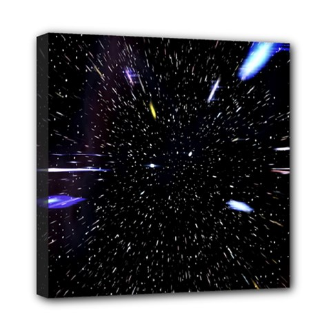 Space Warp Speed Hyperspace Through Starfield Nebula Space Star Hole Galaxy Mini Canvas 8  X 8