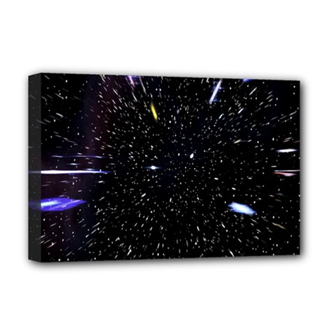 Space Warp Speed Hyperspace Through Starfield Nebula Space Star Hole Galaxy Deluxe Canvas 18  X 12