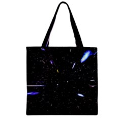 Space Warp Speed Hyperspace Through Starfield Nebula Space Star Hole Galaxy Zipper Grocery Tote Bag