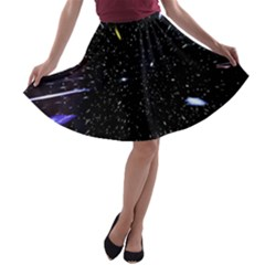 Space Warp Speed Hyperspace Through Starfield Nebula Space Star Hole Galaxy A Line Skater Skirt