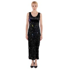 Space Warp Speed Hyperspace Through Starfield Nebula Space Star Hole Galaxy Fitted Maxi Dress