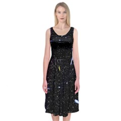 Space Warp Speed Hyperspace Through Starfield Nebula Space Star Hole Galaxy Midi Sleeveless Dress