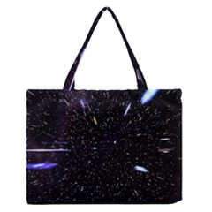 Space Warp Speed Hyperspace Through Starfield Nebula Space Star Hole Galaxy Zipper Medium Tote Bag