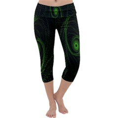 Space Green Hypnotizing Tunnel Animation Hole Polka Green Capri Yoga Leggings