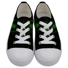 Space Green Hypnotizing Tunnel Animation Hole Polka Green Kids  Low Top Canvas Sneakers