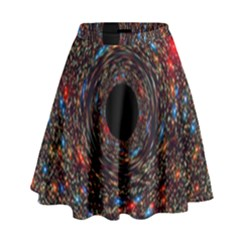 Space Star Light Black Hole High Waist Skirt