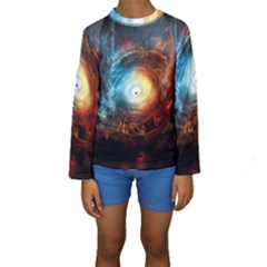 Supermassive Black Hole Galaxy Is Hidden Behind Worldwide Network Kids  Long Sleeve Swimwear