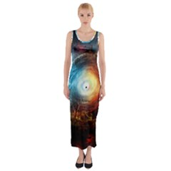 Supermassive Black Hole Galaxy Is Hidden Behind Worldwide Network Fitted Maxi Dress
