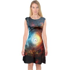 Supermassive Black Hole Galaxy Is Hidden Behind Worldwide Network Capsleeve Midi Dress