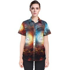 Supermassive Black Hole Galaxy Is Hidden Behind Worldwide Network Women s Short Sleeve Shirt