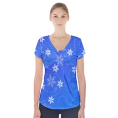 Winter Blue Snowflakes Rain Cool Short Sleeve Front Detail Top