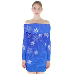 Winter Blue Snowflakes Rain Cool Long Sleeve Off Shoulder Dress