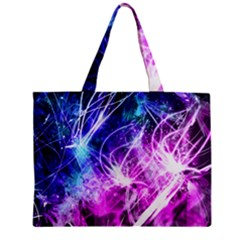Space Galaxy Purple Blue Zipper Mini Tote Bag