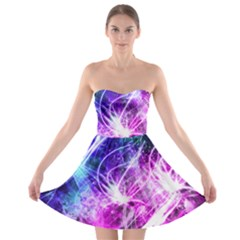 Space Galaxy Purple Blue Strapless Bra Top Dress