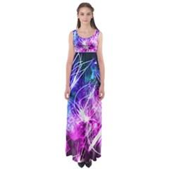 Space Galaxy Purple Blue Empire Waist Maxi Dress